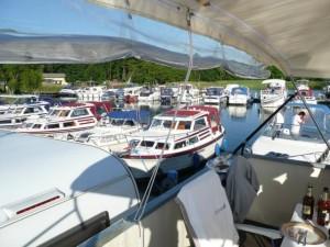 Blick vom freecamper-Sonnendeck in den Hafen