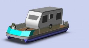 Das ist der neue freecamper für kleine Wohnwagen. Auf der Grafik fehlt noch das Verdeck über dem Steuerstand vorne.