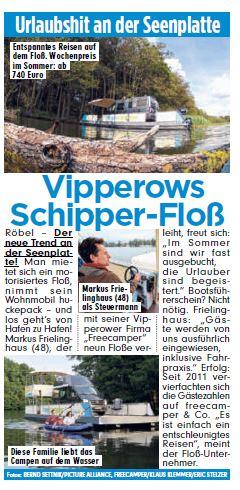 Vipperows Schipper - Floß, BILD Artikel 18.08.2016