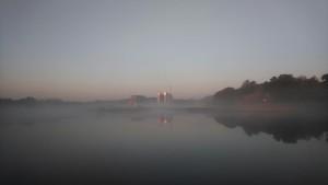 Schiffshebewerk Niederfinow alt und neu im Nebel